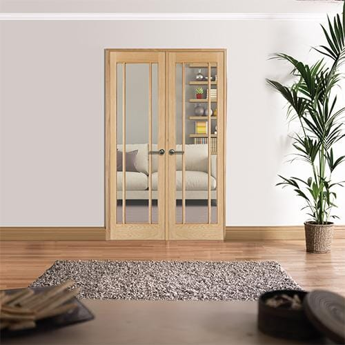 W4 Lincoln Oak Interior French Doors