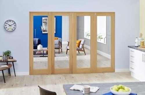 Glazed Oak P10 Folding Room Divider ( 4 x 533mm Doors)