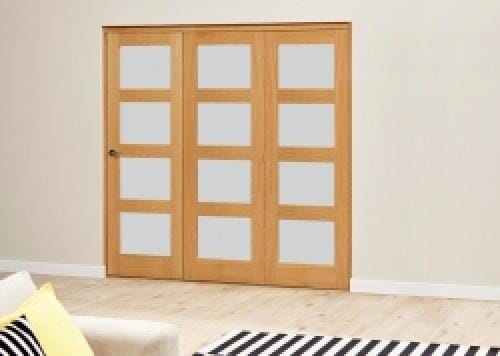Frosted Pre finished 4L Roomfold Deluxe (3 x 762mm doors)