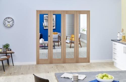 "Slimline Glazed Oak Prefinished 4 Door Roomfold (4 x 18"" Doors)"