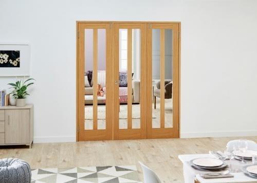 Aston Oak Folding Room Divider ( 3 x 610mm doors)