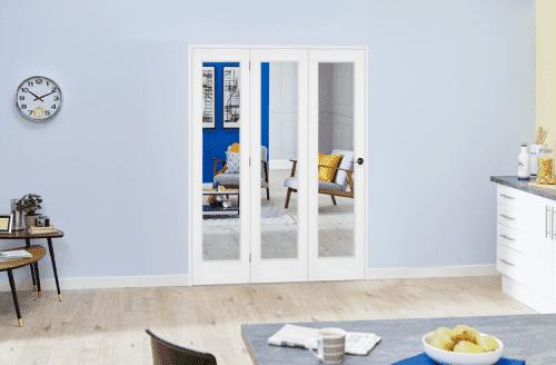 """Slimline White Bifold 3 door system ( 3 x 15"""" Doors )"""