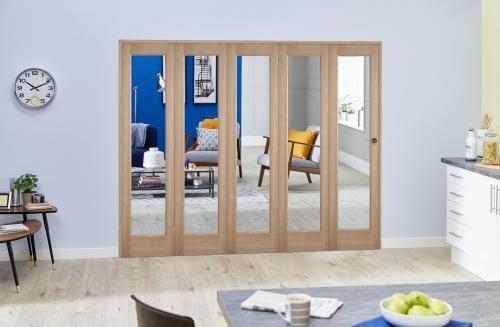 "Slimline Glazed Oak Prefinished 5 Door Roomfold (5 x 18"" Doors)"