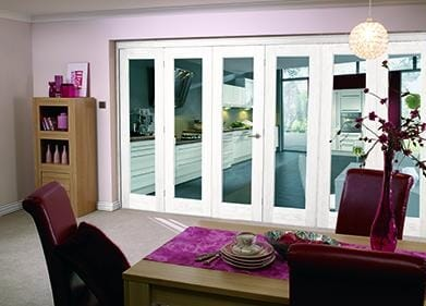 "White Bifold 6 door system ( 3 + 3 x 24"" doors )"
