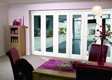"""White Bifold 6 door system ( 5 + 1 x 27"""" doors )"""