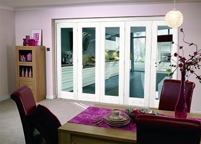 White Bifold 5 door system ( 5 x 27 doors )