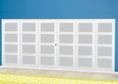 White 4L Frosted Roomfold Deluxe ( 3 + 3 x 610mm doors )