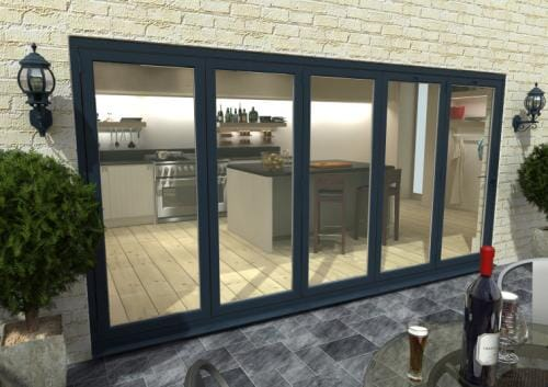 4800mm Grey Aluminium Bifold Doors - CLIMADOOR