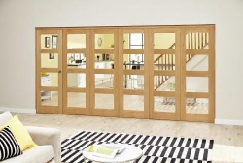 Oak 4L Clear Roomfold Deluxe (5 + 1 x 686mm doors)