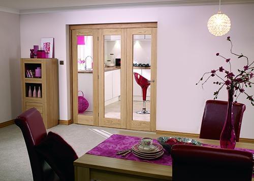 """Glazed OAK - 3 door roomfold (3 x 27"""" doors) Image"""