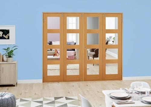 Oak 4L Folding Room Divider ( 4 x 533mm doors )
