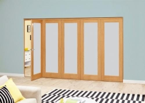 Prefinished Frosted P10 Oak Roomfold Deluxe (5 x 686mm doors)