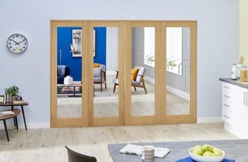 Glazed Oak P10 Folding Room Divider ( 4 x 686mm Doors)