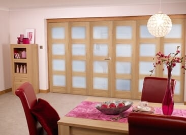 Oak Pre finished 4L Roomfold door (6 door 3+3 x 2