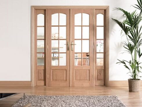 W6 OAK Interior French Doors with sidelights