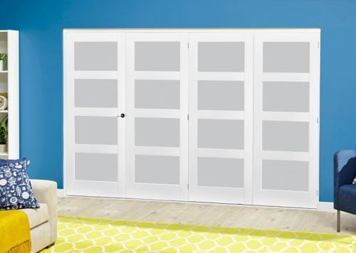White 4L Frosted Roomfold Deluxe ( 4 x 610mm doors )