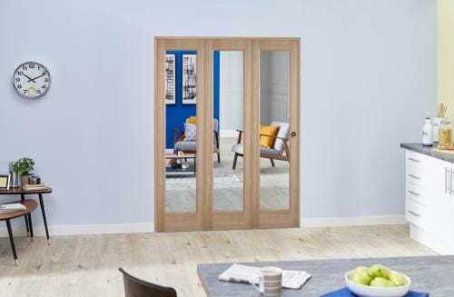 "Slimline Glazed Oak Prefinished 3 Door Roomfold (3 x 18"" Doors)"