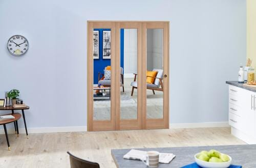 Slimline Pre-finished Glazed Oak Roomfold Deluxe ( 3 x 381mm Doors )