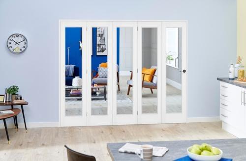 Slimline White Bifold 5 door system ( 5 x 419mm Doors )
