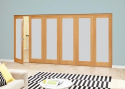 Prefinished Frosted P10 Oak Roomfold Deluxe (5 + 1 x 610mm doors)