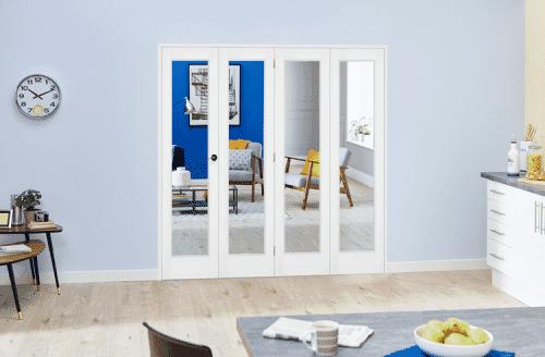 """Slimline White Bifold 4 door system ( 4 x 18"""" Doors )"""