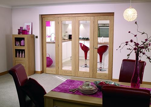 "Glazed OAK - 4 door roomfold (4 x 27"" doors) Image"