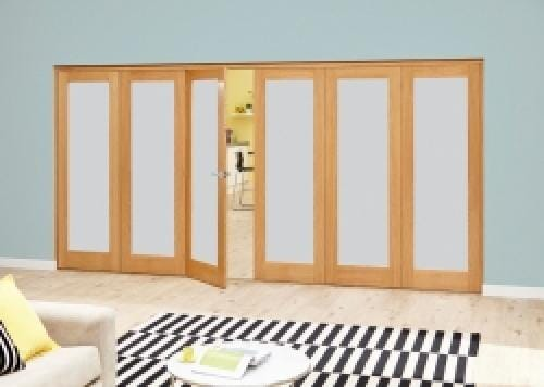 Prefinished Frosted P10 Oak Roomfold Deluxe (3 + 3 x 610mm doors)