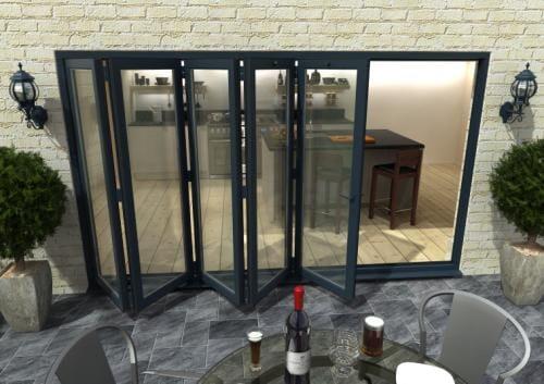 3600mm Grey Aluminium Bifold Doors - CLIMADOOR Image