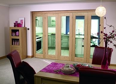 "Glazed OAK - 5 door roomfold (5 x 24"" doors)"