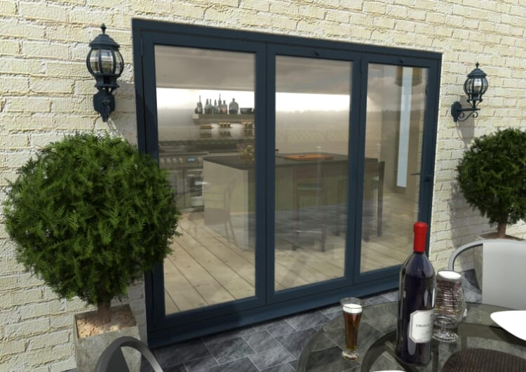 2700mm Grey Aluminium Bifold Doors - Climadoor Image