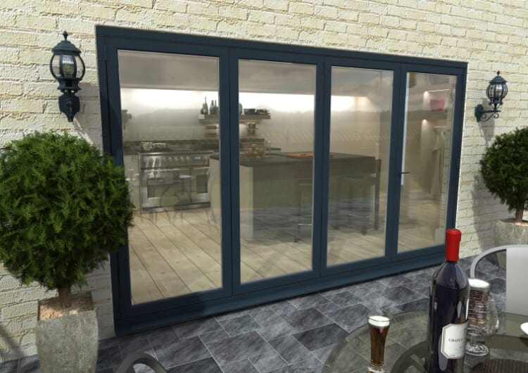 3600mm ( 3 + 1 ) Grey Aluminium Bifold Doors - Climadoor Image