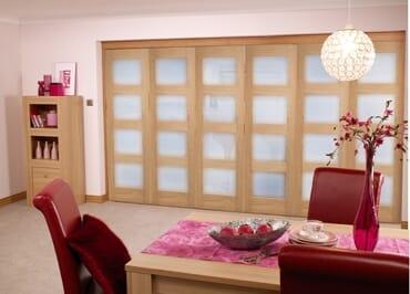 Oak 4L Shaker Glazed Roomfold (5+1 x 2
