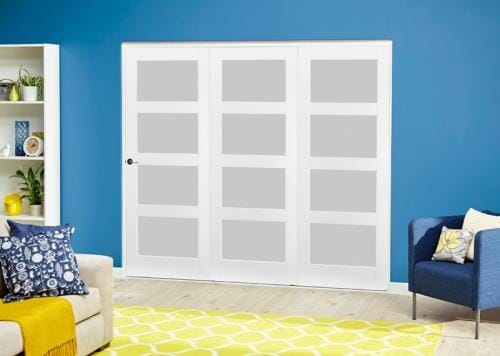 White 4L Frosted Roomfold Deluxe ( 3 x 610mm doors )