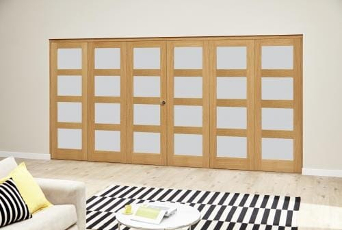 Oak 4L Frosted Roomfold Deluxe (3 + 3 x 610mm doors)