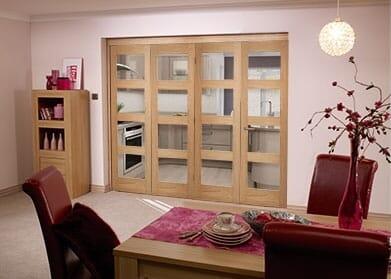 Oak Pre finished 4 Light Bifold door ( 4 x 1