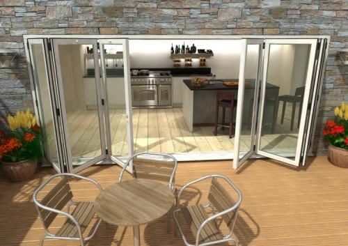 4800mm White Aluminium Bifold Doors - CLIMADOOR