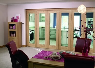 Glazed Oak Prefinished 6 door Roomfold (3+3 x 2