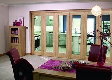 """Glazed OAK - 6 door roomfold (3 + 3 x 27"""" doors)"""