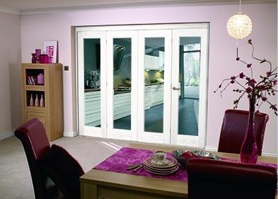"""White Bifold 4 door system ( 4 x 27"""" doors )"""