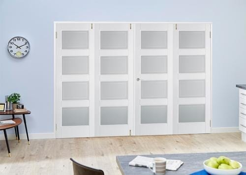 Contemporary White 4L Folding Room Divider ( 4 x 610mm Doors)