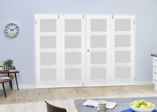 White 4L Frosted Folding Room Divider ( 4 x 533mm doors)