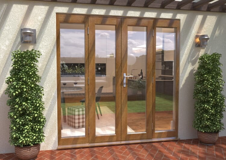 Climadoor Solid Oak French Doors 1200 Pair With 2 X 450mm Sidelights Image