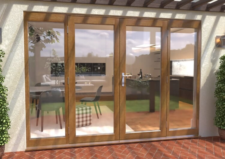 Climadoor Solid Oak French Doors 1800 Pair With 2 X 600mm Sidelights Image
