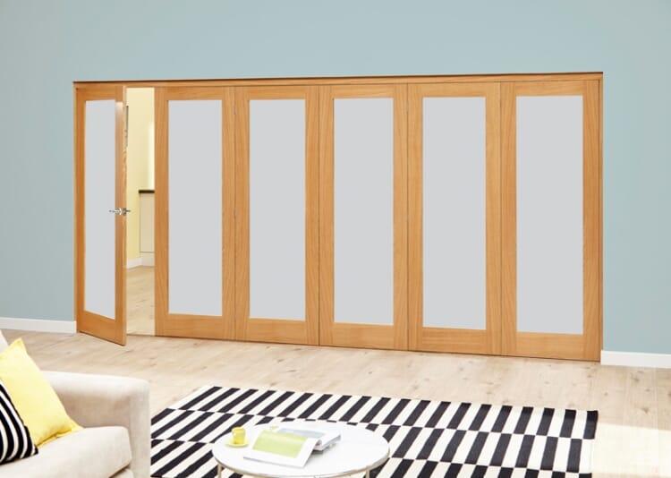 Frosted Glazed Oak - 6 Door Roomfold Deluxe (5+1 X 2