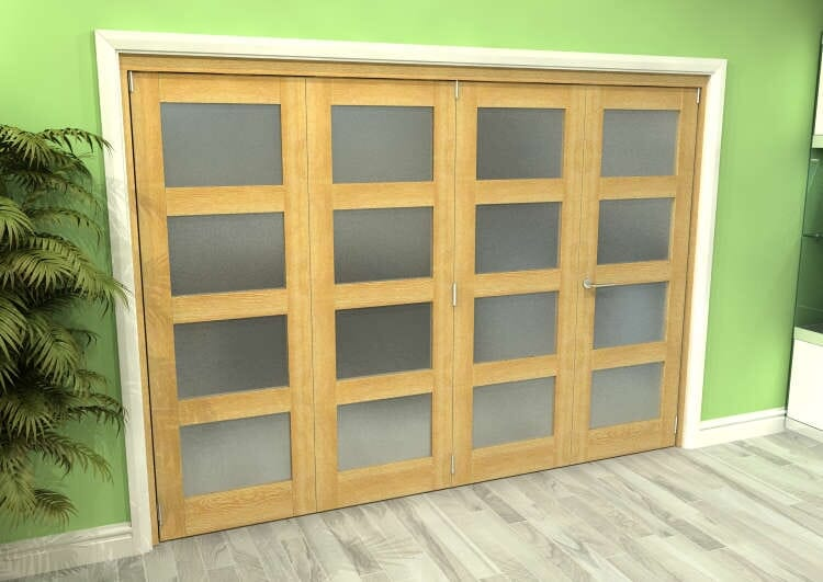 Frosted Glazed Oak 4 Door 4l Roomfold Grande (3 + 1 X 686mm Doors) Image
