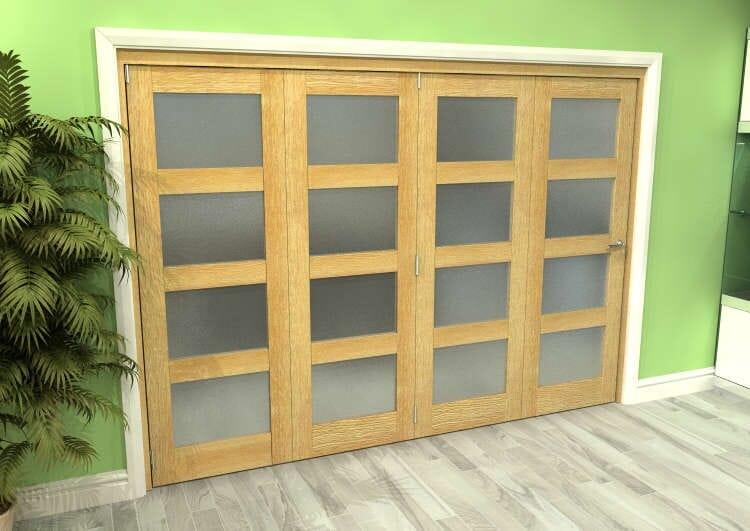 Frosted Glazed Oak 4 Door 4l Roomfold Grande (4 + 0 X 686mm Doors) Image