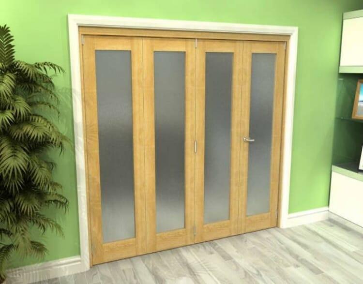 Frosted Glazed Oak 4 Door Roomfold Grande (3 + 1 X 610mm Doors) Image