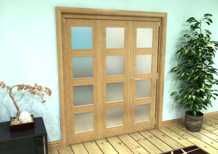 Frosted Glazed Oak Prefinished 3 Door 4l Roomfold Grande (2 + 1 X 610mm Doors) Image