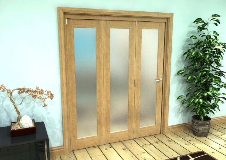 Frosted Glazed Oak Prefinished 3 Door Roomfold Grande 1800mm (6ft) Set Image