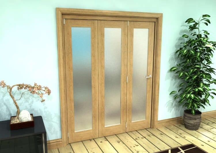 Frosted Glazed Oak Prefinished 3 Door Roomfold Grande (3 + 0 X 533mm Doors) Image